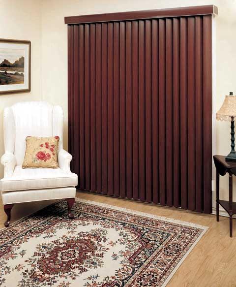 custom fit designer faux wood vertical window blinds free. Black Bedroom Furniture Sets. Home Design Ideas